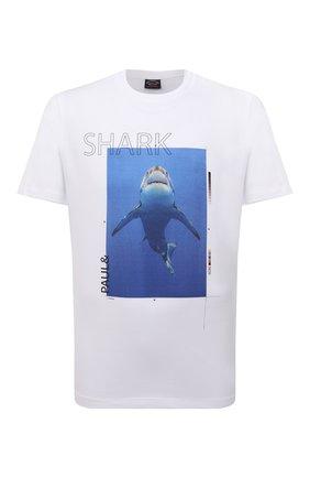 Мужская хлопковая футболка PAUL&SHARK белого цвета, арт. 11311662/C00 | Фото 1 (Материал внешний: Хлопок; Принт: С принтом; Рукава: Короткие; Стили: Кэжуэл; Длина (для топов): Стандартные)