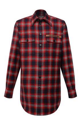 Мужская шерстяная рубашка DOLCE & GABBANA красного цвета, арт. G5IY9T/FQ2H3 | Фото 1 (Материал внешний: Шерсть; Рукава: Длинные; Длина (для топов): Удлиненные; Случай: Повседневный; Принт: Клетка; Воротник: Кент; Манжеты: На пуговицах; Стили: Кэжуэл)