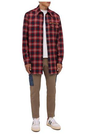 Мужская шерстяная рубашка DOLCE & GABBANA красного цвета, арт. G5IY9T/FQ2H3 | Фото 2 (Материал внешний: Шерсть; Рукава: Длинные; Длина (для топов): Удлиненные; Случай: Повседневный; Принт: Клетка; Воротник: Кент; Манжеты: На пуговицах; Стили: Кэжуэл)