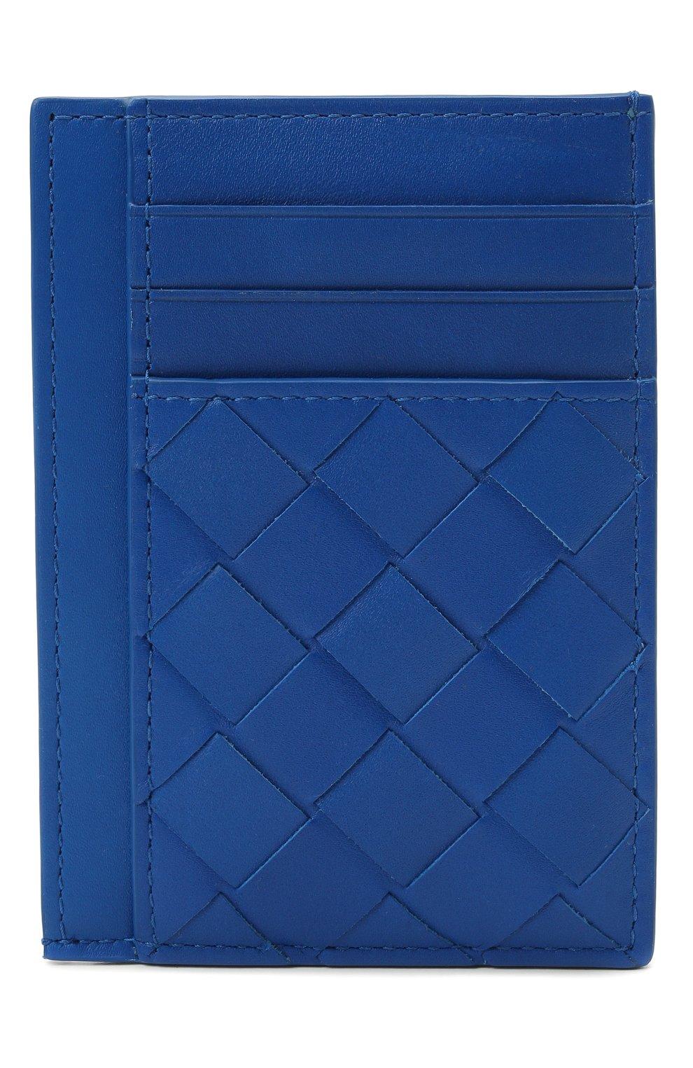 Мужской кожаный футляр для кредитных карт BOTTEGA VENETA синего цвета, арт. 650527/VCPQ3 | Фото 1