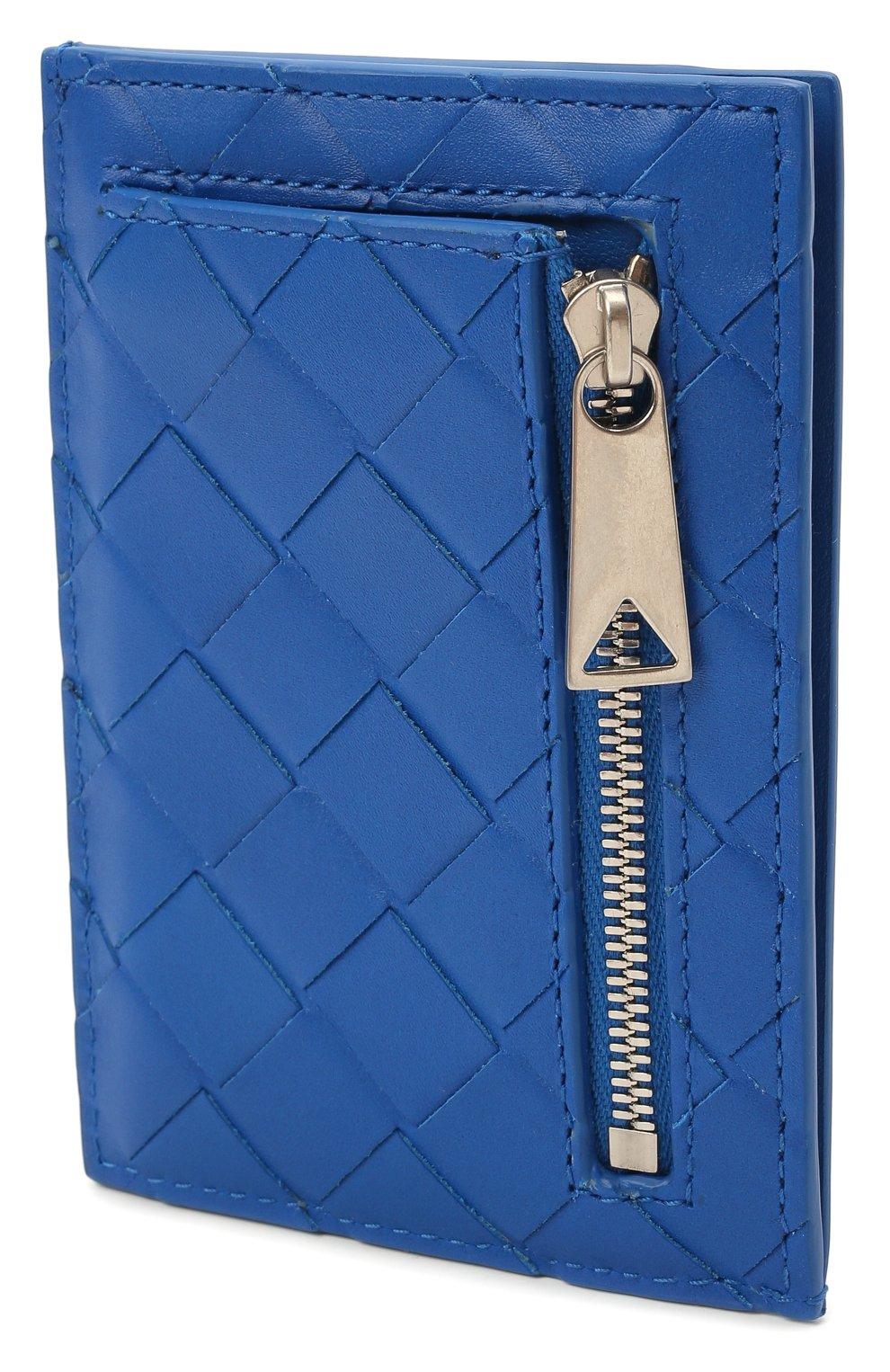 Мужской кожаный футляр для кредитных карт BOTTEGA VENETA синего цвета, арт. 650527/VCPQ3 | Фото 2
