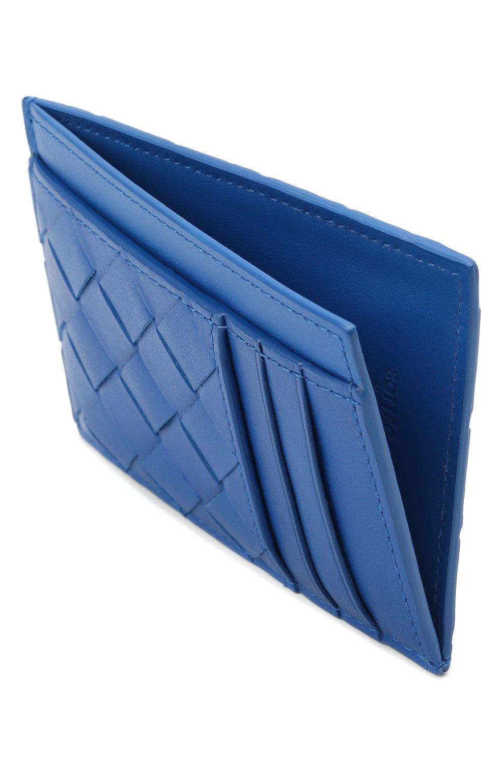 Мужской кожаный футляр для кредитных карт BOTTEGA VENETA синего цвета, арт. 650527/VCPQ3 | Фото 3