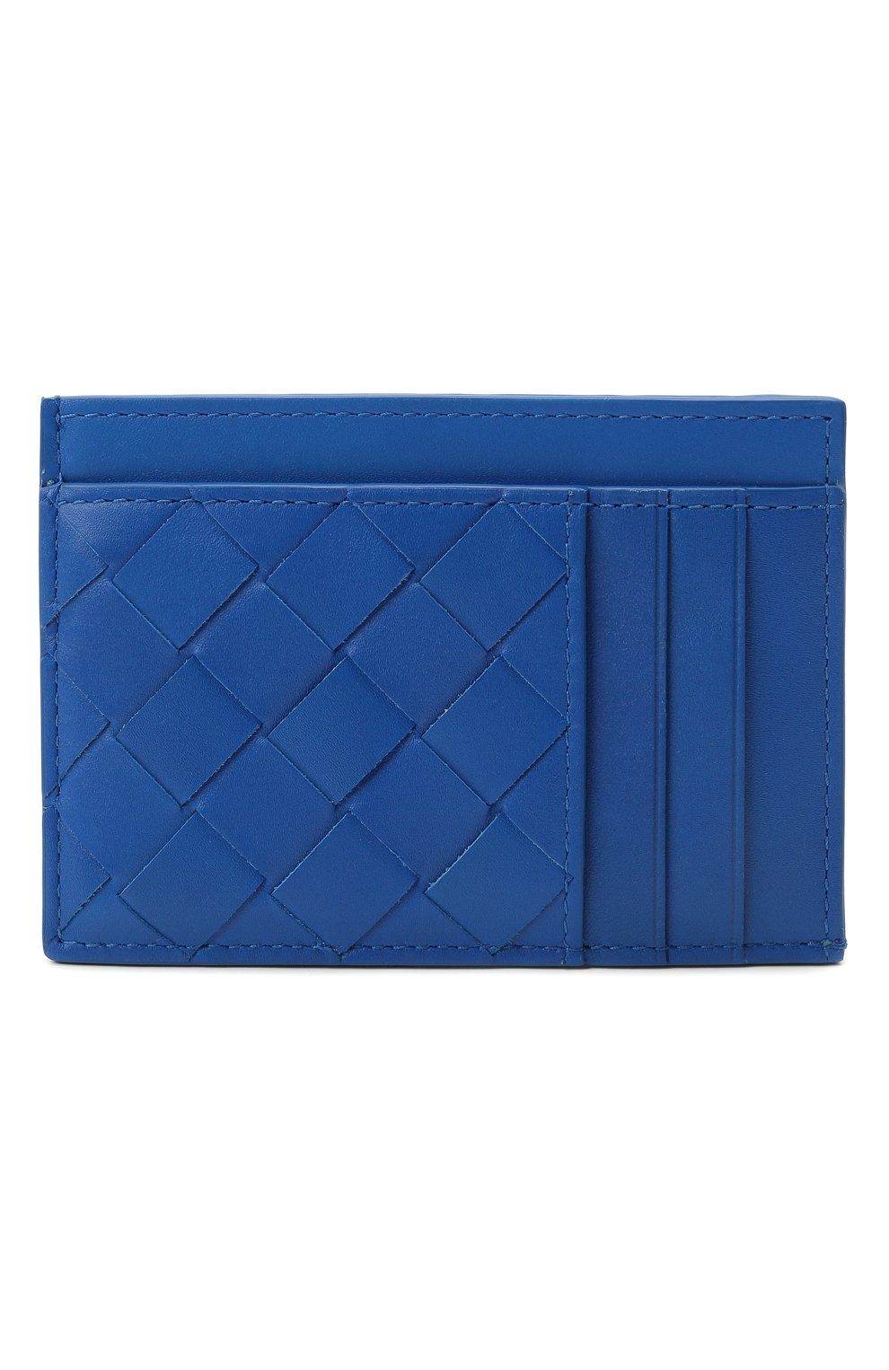 Мужской кожаный футляр для кредитных карт BOTTEGA VENETA синего цвета, арт. 650527/VCPQ3 | Фото 4