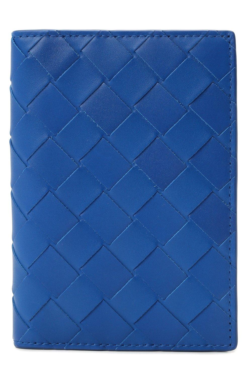Мужской кожаная обложка для паспорта BOTTEGA VENETA синего цвета, арт. 607482/VCPQ4 | Фото 1 (Кросс-КТ: обложки и футляры)