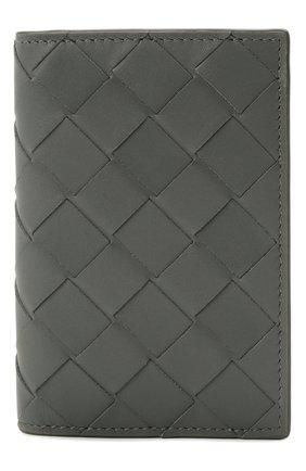 Мужской кожаный футляр для кредитных карт BOTTEGA VENETA серого цвета, арт. 592619/VCPQ4 | Фото 1