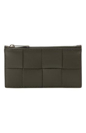 Мужской кожаный футляр для кредитных карт BOTTEGA VENETA хаки цвета, арт. 667049/VBWD3 | Фото 1