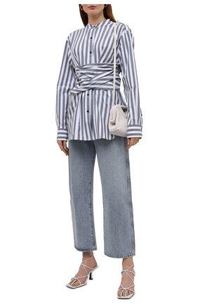 Женская хлопковая рубашка PROENZA SCHOULER WHITE LABEL серо-голубого цвета, арт. WL2134238-AC123 | Фото 2