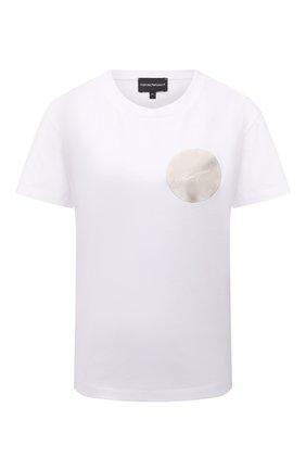 Женская хлопковая футболка EMPORIO ARMANI белого цвета, арт. 6K2T7X/2J95Z   Фото 1