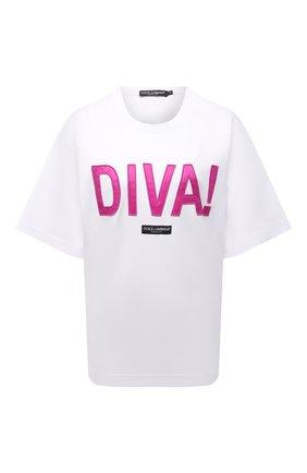Женская хлопковая футболка DOLCE & GABBANA белого цвета, арт. F8050Z/HU7H8   Фото 1