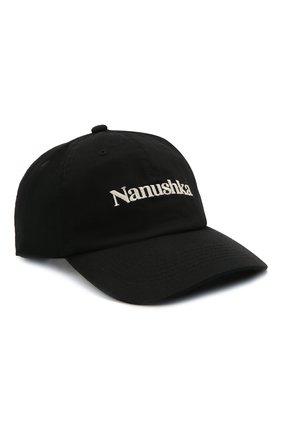Женская хлопковая бейсболка NANUSHKA черного цвета, арт. NW21SSHT01299   Фото 1