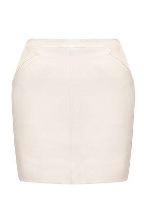 Женская кожаная юбка TOM FORD кремвого цвета, арт. GCL824-LEX228 | Фото 1 (Материал подклада: Шелк; Стили: Гламурный; Женское Кросс-КТ: Юбка-одежда; Длина Ж (юбки, платья, шорты): Мини)
