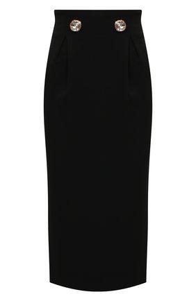 Женская шелковая юбка VERSACE черного цвета, арт. 1001228/1A00995   Фото 1 (Длина Ж (юбки, платья, шорты): Миди; Материал подклада: Синтетический материал; Материал внешний: Шелк; Стили: Гламурный; Женское Кросс-КТ: Юбка-карандаш)