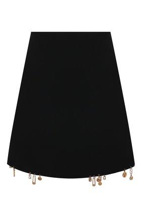 Женская юбка VERSACE черного цвета, арт. 1001123/1A00940   Фото 1 (Материал подклада: Синтетический материал; Длина Ж (юбки, платья, шорты): Мини; Материал внешний: Синтетический материал; Стили: Гламурный; Женское Кросс-КТ: Юбка-одежда)