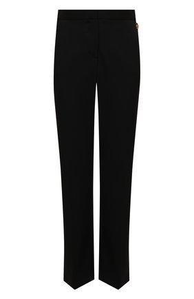 Женские шерстяные брюки VERSACE черного цвета, арт. 1001112/1A01020   Фото 1 (Материал внешний: Шерсть; Стили: Гламурный; Женское Кросс-КТ: Брюки-одежда; Силуэт Ж (брюки и джинсы): Прямые; Длина (брюки, джинсы): Укороченные)