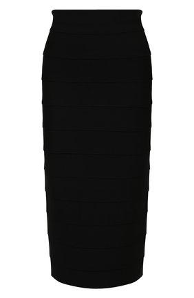 Женская юбка из вискозы VERSACE черного цвета, арт. 1001096/1A00580   Фото 1 (Материал внешний: Вискоза; Стили: Гламурный; Женское Кросс-КТ: Юбка-карандаш; Кросс-КТ: Трикотаж; Длина Ж (юбки, платья, шорты): До колена)