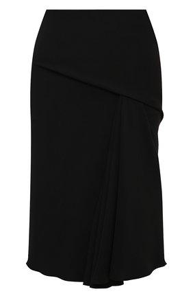 Женская юбка VERSACE черного цвета, арт. 1000693/1A00993   Фото 1 (Длина Ж (юбки, платья, шорты): До колена; Материал внешний: Синтетический материал; Стили: Гламурный; Женское Кросс-КТ: Юбка-одежда)