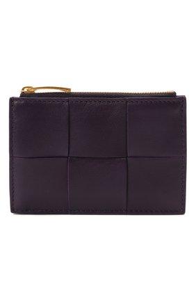 Женский кожаный футляр для кредитных карт BOTTEGA VENETA темно-фиолетового цвета, арт. 651393/VCQC4 | Фото 1