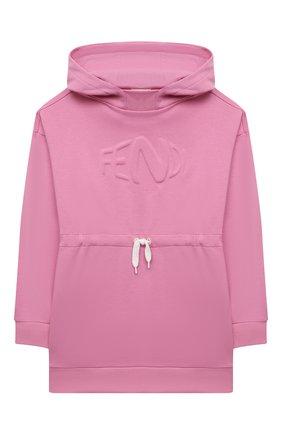 Детское хлопковое худи FENDI розового цвета, арт. JFH121/5V0/8A-12+ | Фото 1