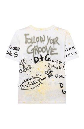 Детская хлопковая футболка DOLCE & GABBANA белого цвета, арт. L4JTDM/G7BJ6/8-14 | Фото 2