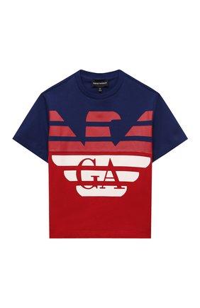 Детская хлопковая футболка EMPORIO ARMANI красного цвета, арт. 6K4TJD/4J54Z | Фото 1
