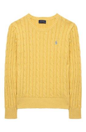 Детский хлопковый пуловер POLO RALPH LAUREN желтого цвета, арт. 313737921 | Фото 1