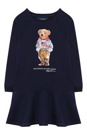 Детское хлопковое платье POLO RALPH LAUREN темно-синего цвета, арт. 311856712 | Фото 1