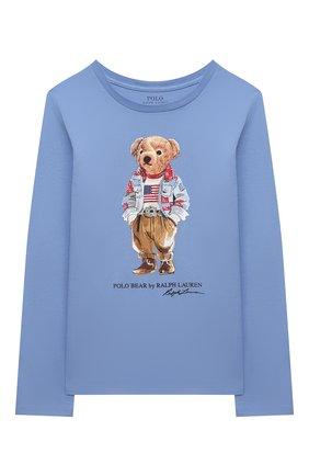 Детская хлопковый лонгслив POLO RALPH LAUREN голубого цвета, арт. 311854212 | Фото 1