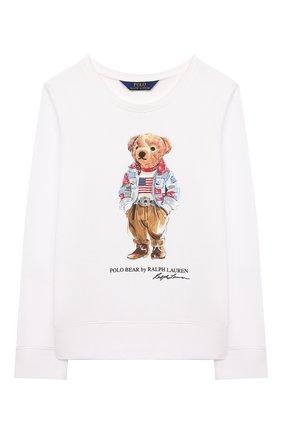 Детский хлопковый свитшот POLO RALPH LAUREN белого цвета, арт. 311850652 | Фото 1