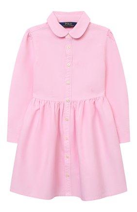 Детское хлопковое платье-рубашка POLO RALPH LAUREN розового цвета, арт. 311756657 | Фото 1