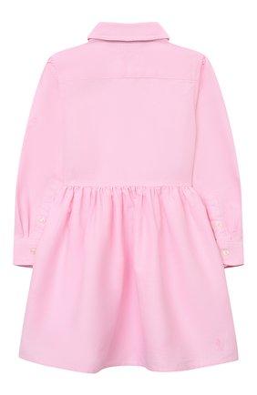 Детское хлопковое платье-рубашка POLO RALPH LAUREN розового цвета, арт. 311756657 | Фото 2