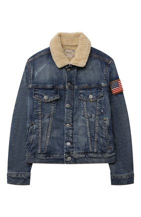 Детского джинсовая куртка POLO RALPH LAUREN голубого цвета, арт. 323759990 | Фото 1