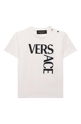 Детский хлопковая футболка VERSACE белого цвета, арт. 1000102/1A01330 | Фото 1