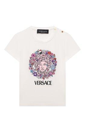 Детский хлопковая футболка VERSACE белого цвета, арт. 1000152/1A00555 | Фото 1