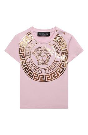 Детский хлопковая футболка VERSACE розового цвета, арт. 1000152/1A01341 | Фото 1