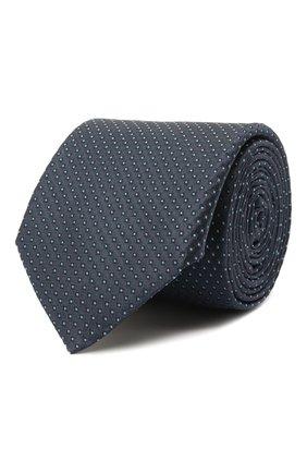 Мужской шелковый галстук BOSS темно-синего цвета, арт. 50461205 | Фото 1 (Материал: Шелк, Текстиль; Принт: С принтом)