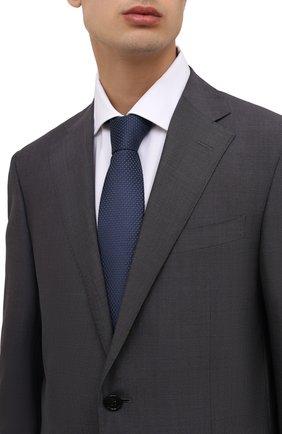 Мужской шелковый галстук BOSS темно-синего цвета, арт. 50461205 | Фото 2 (Материал: Шелк, Текстиль; Принт: С принтом)