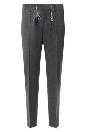 Мужские шерстяные брюки BOSS серого цвета, арт. 50458788 | Фото 1 (Материал внешний: Шерсть; Случай: Повседневный; Стили: Кэжуэл; Длина (брюки, джинсы): Стандартные)