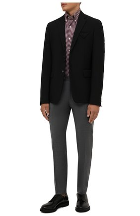 Мужские шерстяные брюки BOSS серого цвета, арт. 50458788 | Фото 2 (Материал внешний: Шерсть; Случай: Повседневный; Стили: Кэжуэл; Длина (брюки, джинсы): Стандартные)