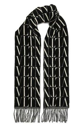 Мужской шарф из шерсти и кашемира VALENTINO черного цвета, арт. WY2ER033/QQB   Фото 1