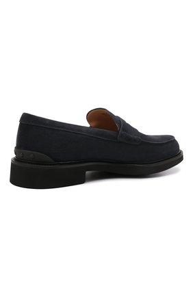 Мужские замшевые пенни-лоферы TOD'S темно-синего цвета, арт. XXM06H00640RE0   Фото 4 (Мужское Кросс-КТ: Лоферы-обувь; Материал внутренний: Натуральная кожа; Материал внешний: Замша; Стили: Кэжуэл)