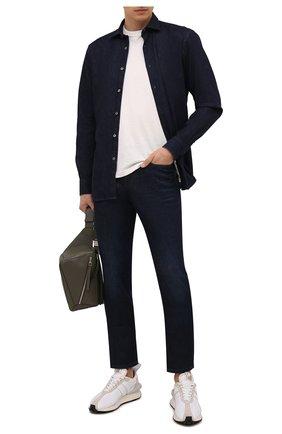 Мужские джинсы Z ZEGNA темно-синего цвета, арт. VY751/ZZ530 | Фото 2 (Материал внешний: Хлопок; Длина (брюки, джинсы): Стандартные; Кросс-КТ: Деним; Силуэт М (брюки): Прямые; Стили: Кэжуэл; Детали: Потертости)