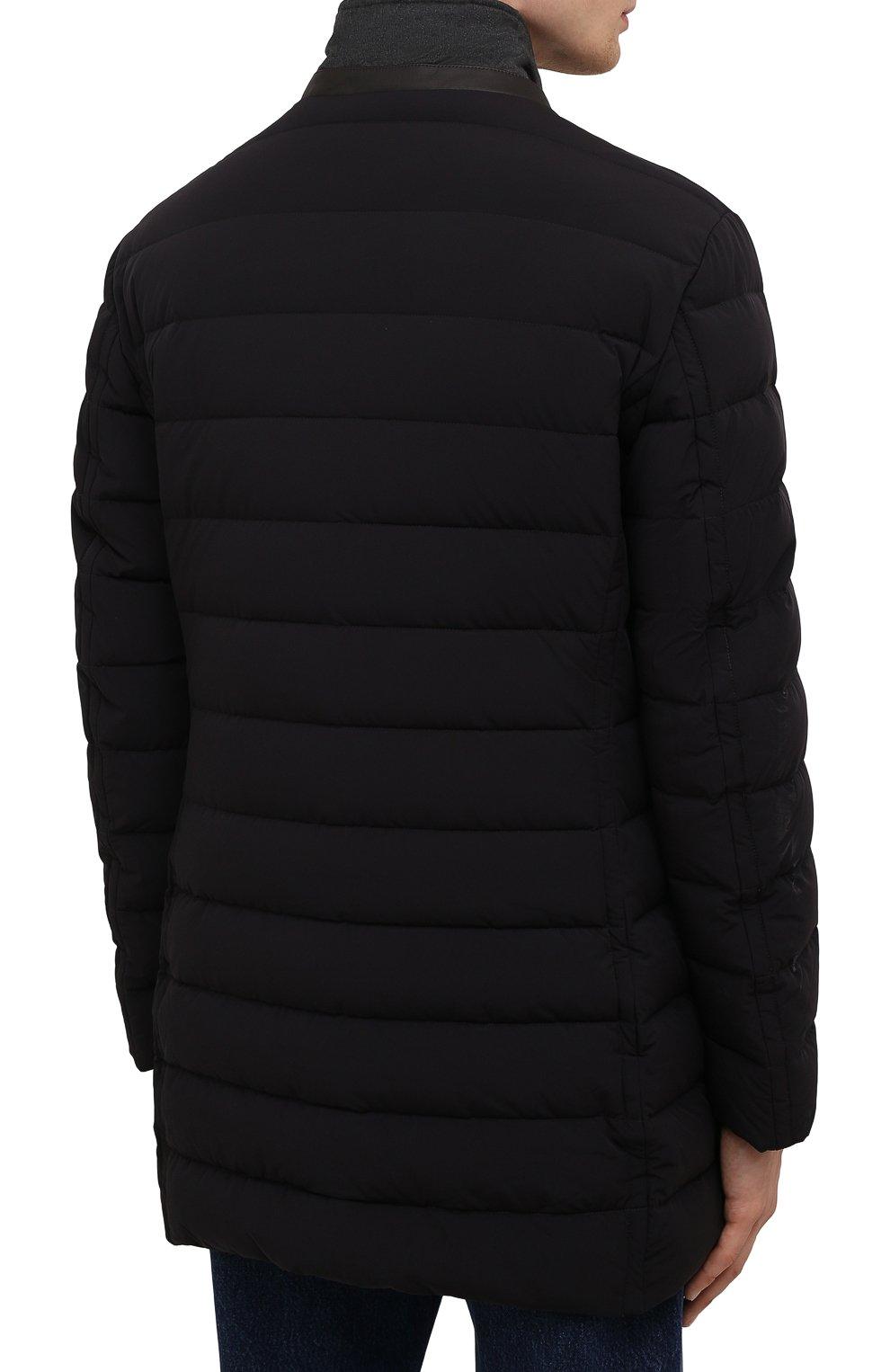 Мужская пуховик nabil-kn MOORER черного цвета, арт. NABIL-KN/M0UGI100240-TEPA009 | Фото 4 (Кросс-КТ: Куртка; Мужское Кросс-КТ: пуховик-короткий; Рукава: Длинные; Длина (верхняя одежда): До середины бедра; Материал внешний: Синтетический материал; Стили: Классический; Материал подклада: Синтетический материал; Материал утеплителя: Пух и перо)