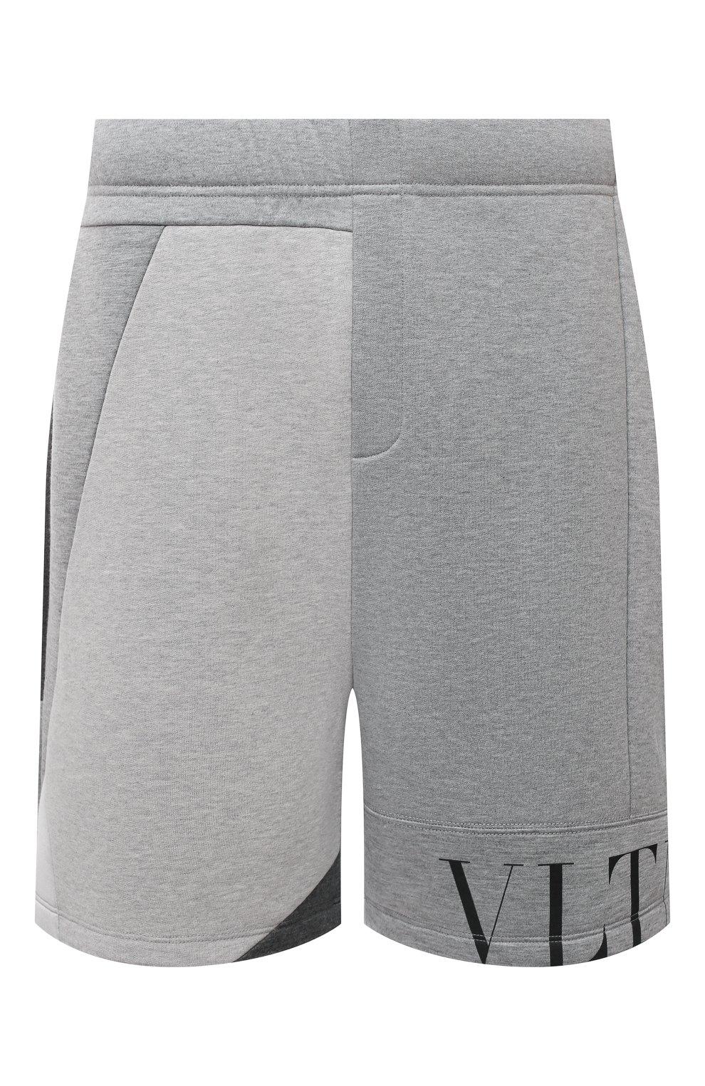 Мужские шорты VALENTINO светло-серого цвета, арт. WV3MD02Y7CV   Фото 1 (Длина Шорты М: До колена; Материал внешний: Синтетический материал; Принт: С принтом; Кросс-КТ: Трикотаж; Стили: Спорт-шик)