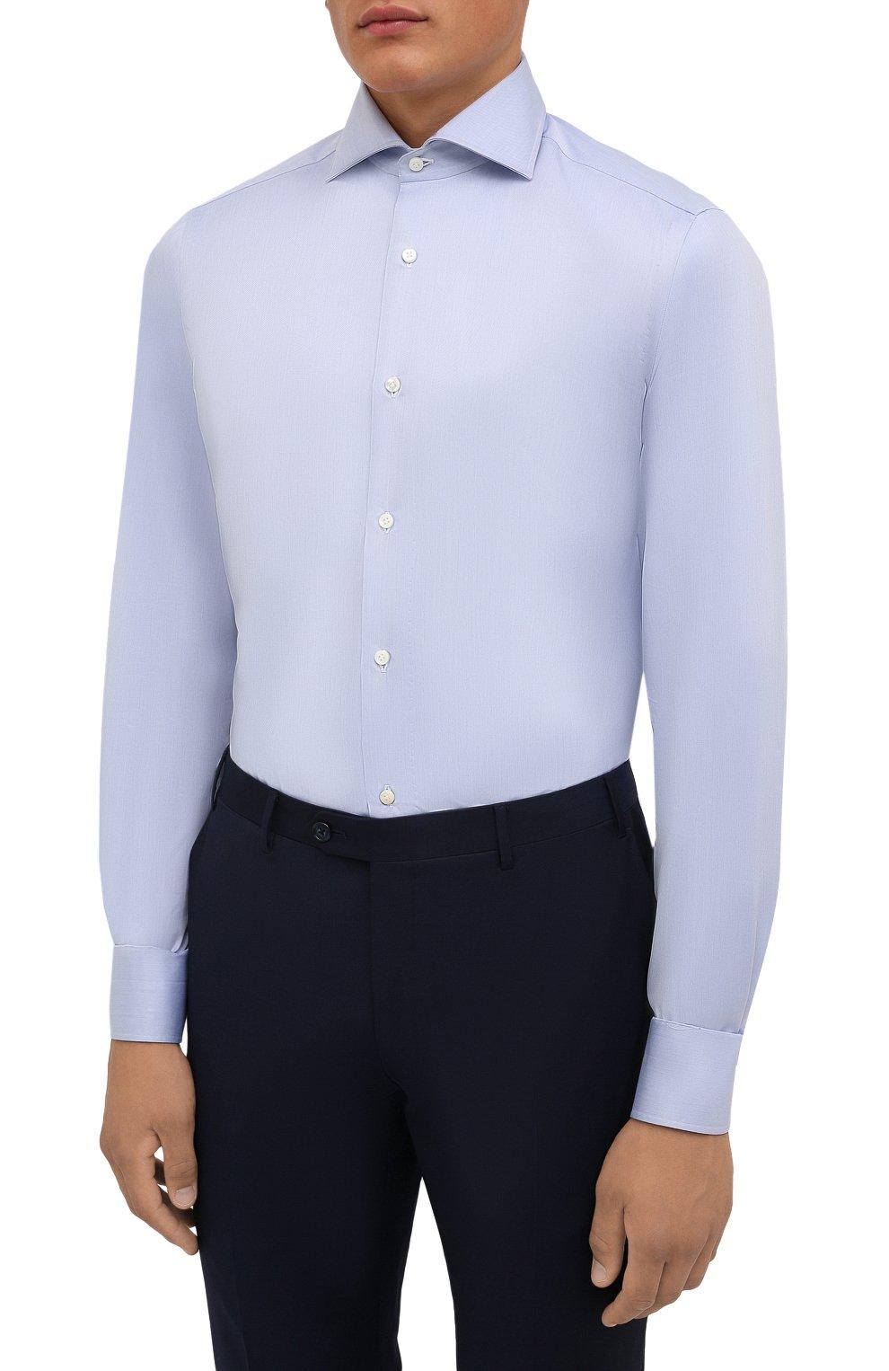 Мужская хлопковая сорочка LUIGI BORRELLI голубого цвета, арт. PS30051/ACHILLE/ST/EV/PC   Фото 3 (Манжеты: На пуговицах; Рукава: Длинные; Воротник: Акула; Длина (для топов): Стандартные; Рубашки М: Slim Fit; Материал внешний: Хлопок; Стили: Классический; Случай: Формальный; Принт: Однотонные)