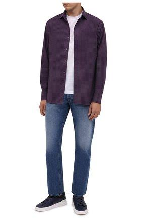 Мужская хлопковая рубашка CORNELIANI темно-бордового цвета, арт. 88P156-1811529/00 | Фото 2