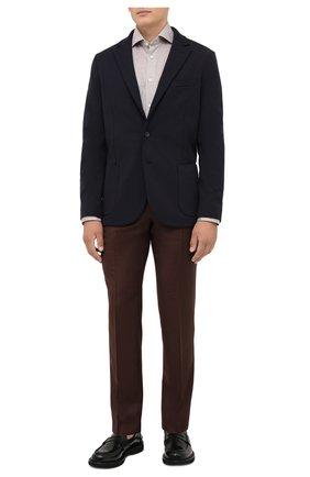 Мужской шерстяной пиджак LORO PIANA темно-синего цвета, арт. FAL8987 | Фото 2 (Длина (для топов): Стандартные; Материал внешний: Шерсть; Рукава: Длинные; Случай: Повседневный; Пиджаки М: Приталенный; Стили: Классический; 1-2-бортные: Однобортные)