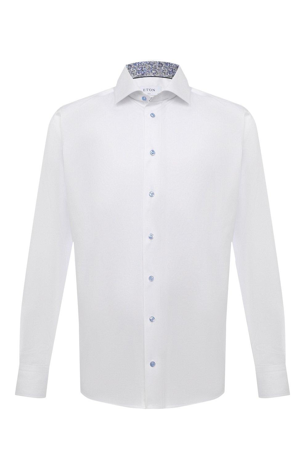Мужская хлопковая сорочка ETON белого цвета, арт. 1000 02443   Фото 1 (Манжеты: На пуговицах; Воротник: Кент; Рукава: Длинные; Длина (для топов): Стандартные; Рубашки М: Slim Fit; Материал внешний: Хлопок; Стили: Классический; Случай: Формальный; Принт: Однотонные)