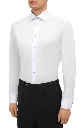 Мужская хлопковая сорочка ETON белого цвета, арт. 1000 02443   Фото 3 (Манжеты: На пуговицах; Воротник: Кент; Рукава: Длинные; Длина (для топов): Стандартные; Рубашки М: Slim Fit; Материал внешний: Хлопок; Стили: Классический; Случай: Формальный; Принт: Однотонные)