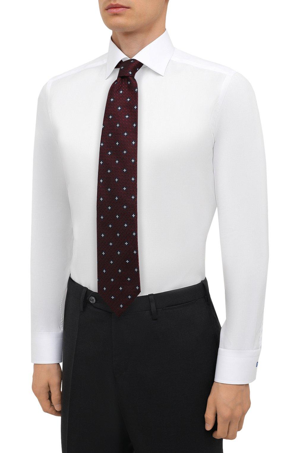 Мужская хлопковая сорочка ETON белого цвета, арт. 1000 02443   Фото 4 (Манжеты: На пуговицах; Воротник: Кент; Рукава: Длинные; Длина (для топов): Стандартные; Рубашки М: Slim Fit; Материал внешний: Хлопок; Стили: Классический; Случай: Формальный; Принт: Однотонные)