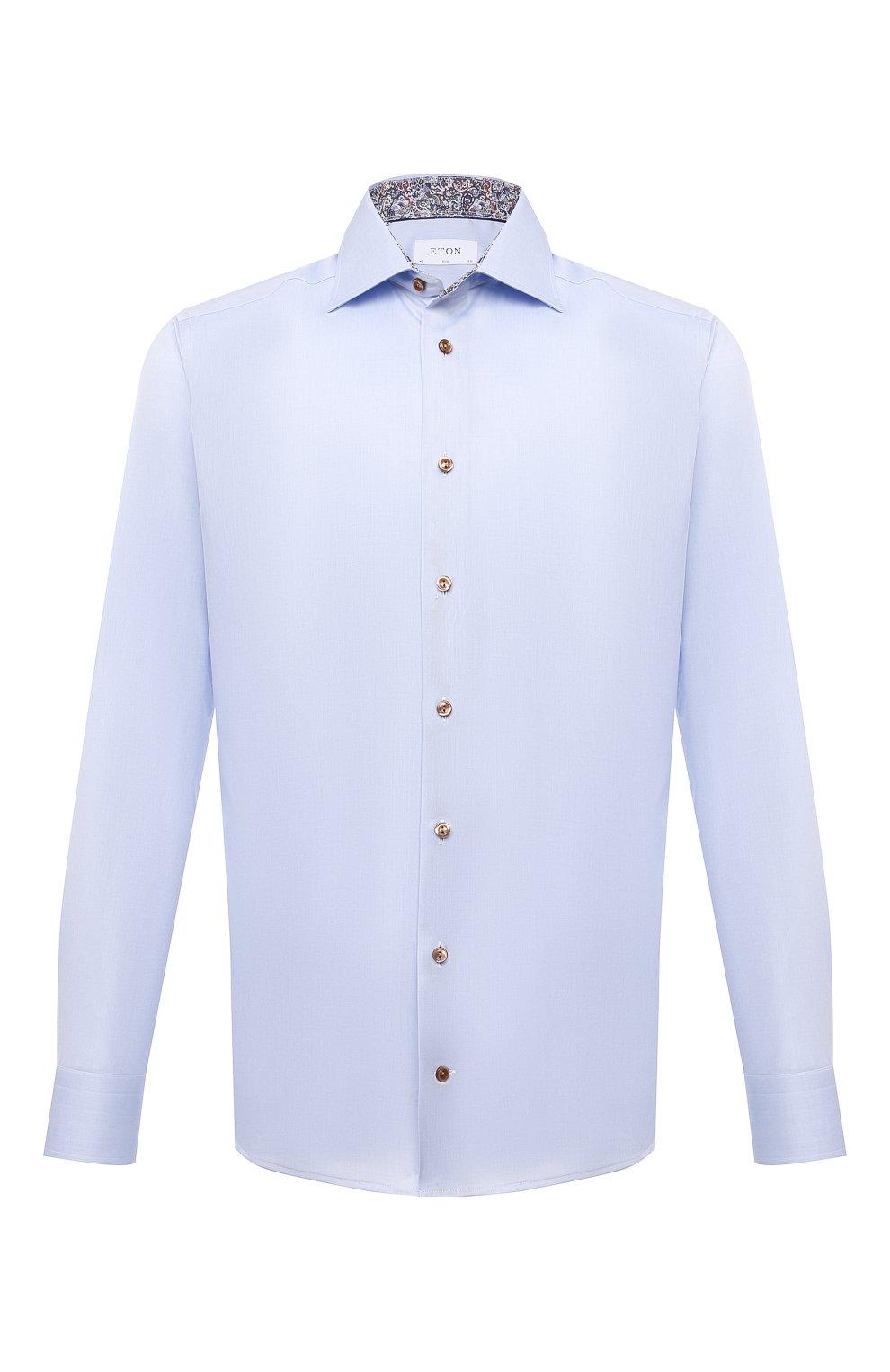 Мужская хлопковая сорочка ETON голубого цвета, арт. 1000 02443   Фото 1 (Манжеты: На пуговицах; Рукава: Длинные; Воротник: Акула; Длина (для топов): Стандартные; Рубашки М: Slim Fit; Материал внешний: Хлопок; Стили: Классический; Случай: Формальный; Принт: Однотонные)